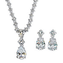"Radiant Pear Cubic Zirconia 2-Piece Drop Earrings and Necklace Set 27.82 TCW in Silvertone 16""-19"""