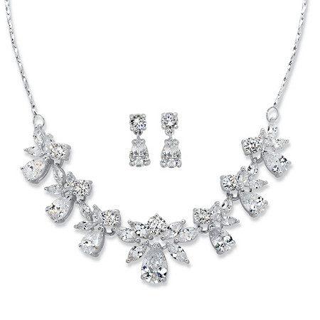 "Pear and Marquise-Cut Cubic Zirconia 2-Piece Floral Drop Earrings and Necklace Set 24.55 TCW in Silvertone 15""-18"" at PalmBeach Jewelry"