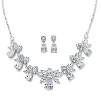 Pear And Marquise-Cut Cubic Zirconia 2-Piece Floral Drop Earrings And Necklace Set