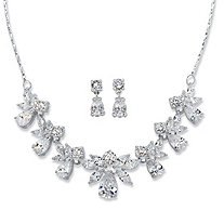 "Pear and Marquise-Cut Cubic Zirconia 2-Piece Floral Drop Earrings and Necklace Set 24.55 TCW in Silvertone 15""-18"""