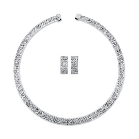 """Princess-Cut Crystal 2-Piece Drop Earrings and Open Collar Necklace Set in Silvertone 13"""" at PalmBeach Jewelry"""