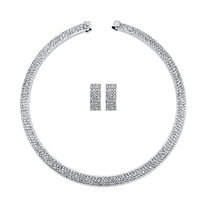 Princess-Cut Crystal 2-Piece Drop Earrings and Open Collar Necklace Set in Silvertone 13