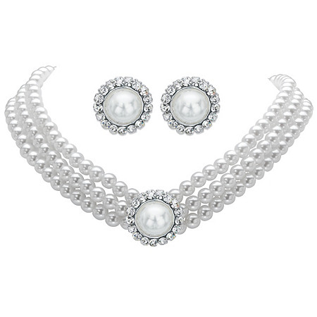"""Round Simulated Pearl and Crystal 2-Piece Halo Stud Earrings and Triple-Strand Necklace Set in Silvertone 13""""-16"""" at PalmBeach Jewelry"""