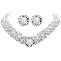 Round Simulated Pearl and Crystal 2-Piece Halo Stud Earrings and Triple-Strand Necklace Set in Silvertone 13