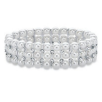 Simulated Pearl and Crystal Triple-Row Stretch Bracelet in Silvertone 7""