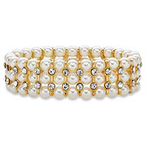 Simulated Pearl and Crystal Triple-Row Stretch Bracelet in Gold Tone 7""