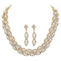 Simulated Pearl and Crystal 2-Piece Drop Earrings and Cluster Necklace Set in Gold Tone 15