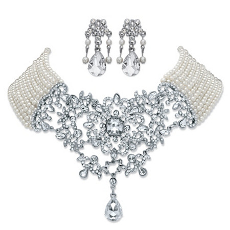 """Simulated Pearl and Crystal 2-Piece Chandelier Earrings and Multi-Strand Floral Scroll Necklace in Silvertone 16.5""""-20.5"""" at PalmBeach Jewelry"""