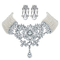 Simulated Pearl and Crystal 2-Piece Chandelier Earrings and Multi-Strand Floral Scroll Necklace in Silvertone 16.5