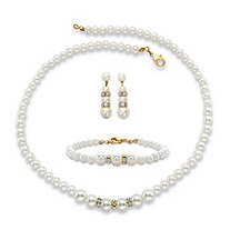 Simulated Pearl and Crystal 3-Piece Strand Necklace, Earrings and Bracelet Set in Gold Tone 16.5""