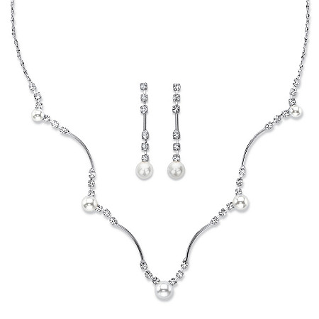 """Simulated Pearl and Crystal 2-Piece Drop Earrings and Scalloped Necklace Set in Silvertone 16""""-19"""" at PalmBeach Jewelry"""