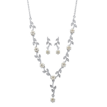"""Simulated Pearl and Crystal 2-Piece Earrings and Drop Necklace Daisy Flower and Vine Set in Silvertone 17""""-20"""" at PalmBeach Jewelry"""