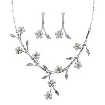 Simulated Pearl and Crystal 2-Piece Earrings and Drop Necklace Daisy Flower and Vine Set in Silvertone 16