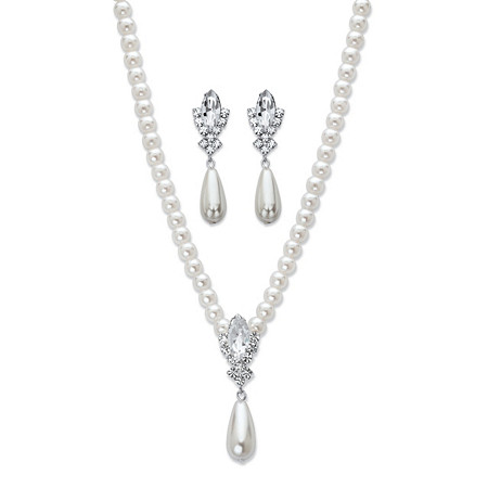Teardrop and Round Simulated Pearl and Crystal 2-Piece Earrings and Drop Necklace Set in Silvertone 16
