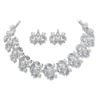 Simulated Pearl And Crystal 2-Piece Floral Earrings And Cluster Necklace Set ONLY $14.99