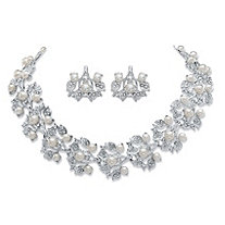 Simulated Pearl and Crystal 2-Piece Floral Earrings and Cluster Necklace Set in Silvertone 16.5