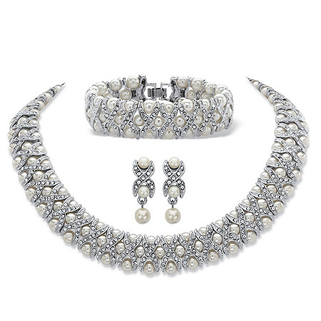 "Simulated Pearl and Crystal 3-Piece ""X & O"" Set in Silvertone 18"" at PalmBeach Jewelry"