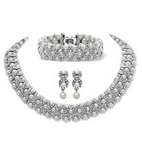 "Simulated Pearl and Crystal 3-Piece ""X & O"" Set in Silvertone 18"""