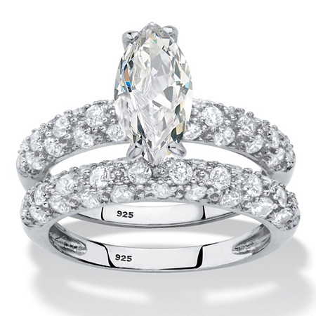 Marquise-Cut Cubic Zirconia 2-Piece Wedding Ring Set 3.30 TCW in Platinum over Sterling Silver at PalmBeach Jewelry