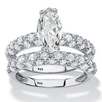 SETA JEWELRY Marquise-Cut Cubic Zirconia 2-Piece Wedding Ring Set 3.30 TCW in Platinum over Sterling Silver