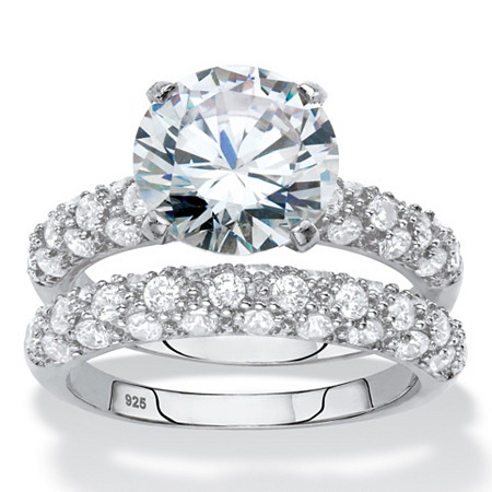 Round Cubic Zirconia 2-Piece Wedding Ring Set 5.30 TCW in Platinum over Sterling Silver at PalmBeach Jewelry