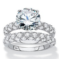 Round Cubic Zirconia 2-Piece Wedding Ring Set 5.30 TCW in Platinum over Sterling Silver