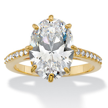Oval Cubic Zirconia and Crystal Engagement Ring MADE WITH SWAROVSKI ELEMENTS 5.81 TCW 14k Gold-Plated at PalmBeach Jewelry