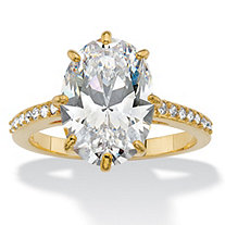 SETA JEWELRY Oval Cubic Zirconia and Crystal Engagement Ring MADE WITH SWAROVSKI ELEMENTS 5.81 TCW 14k Gold-Plated