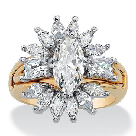 Marquise-Cut and Baguette Cubic Zirconia 2-Piece Starburst Jacket Wedding Ring Set 4.80 TCW 14k Gold-Plated at PalmBeach Jewelry