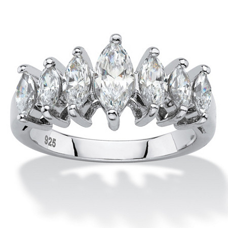 Marquise-Cut Cubic Zirconia Anniversary Band 1.60 TCW in Platinum over Sterling Silver at PalmBeach Jewelry