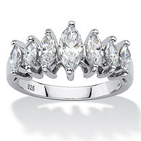 SETA JEWELRY Marquise-Cut Cubic Zirconia Anniversary Band 1.60 TCW in Platinum over Sterling Silver