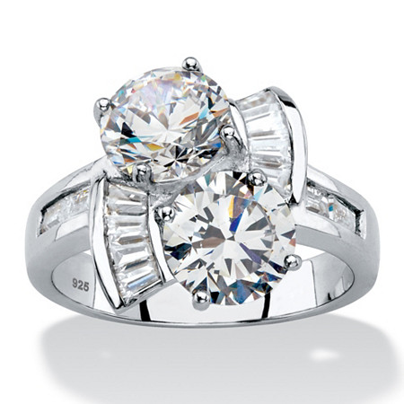 Round and Baguette Cubic Zirconia 2-Stone Bypass Ring 5.20 TCW in Platinum over Sterling Silver at PalmBeach Jewelry