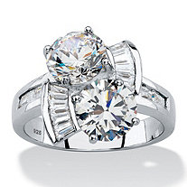 Round and Baguette Cubic Zirconia 2-Stone Bypass Ring 5.20 TCW in Platinum over Sterling Silver
