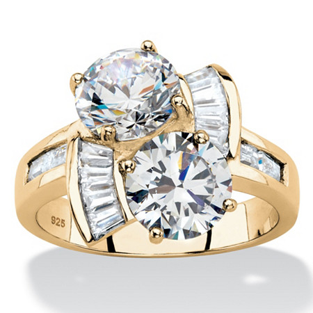Round and Baguette Cubic Zirconia 2-Stone Bypass Ring 5.20 TCW in 14k Gold over Sterling Silver at PalmBeach Jewelry