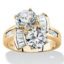 Round and Baguette Cubic Zirconia 2-Stone Bypass Ring 5.20 TCW in 14k Gold over Sterling Silver