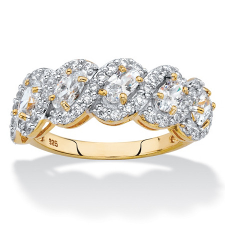Oval-Cut Cubic Zirconia Crossover Halo Ring 1.77 TCW in 14k Gold over Sterling Silver at PalmBeach Jewelry