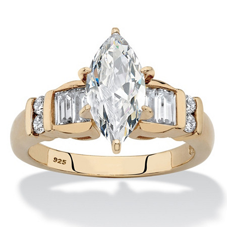Marquise-Cut and Baguette Cubic Zirconia Engagement Ring 2.57 TCW in 14k Gold over Sterling Silver at PalmBeach Jewelry