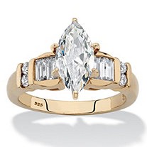 SETA JEWELRY Marquise-Cut and Baguette Cubic Zirconia Engagement Ring 2.57 TCW in 14k Gold over Sterling Silver