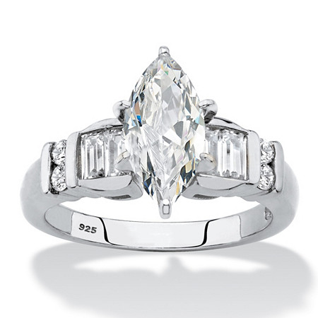 Marquise-Cut and Baguette Cubic Zirconia Engagement Ring 2.57 TCW in Platinum over Sterling Silver at PalmBeach Jewelry