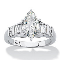 Marquise-Cut and Baguette Cubic Zirconia Engagement Ring 2.57 TCW in Platinum over Sterling Silver