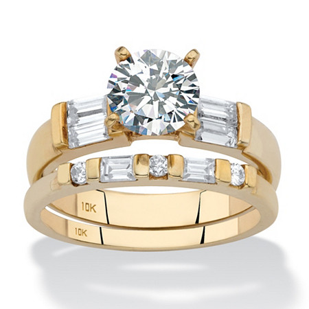 Round and Baguette Cubic Zirconia 2-Piece Wedding Ring Set 2.22 TCW in Solid 10k Yellow Gold at PalmBeach Jewelry