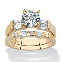 Round and Baguette Cubic Zirconia 2-Piece Wedding Ring Set 2.22 TCW in Solid 10k Yellow Gold