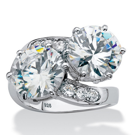 Round Cubic Zirconia 2-Stone Bypass Ring 8.29 TCW in Platinum over Sterling Silver at PalmBeach Jewelry