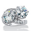 Related Item Round Cubic Zirconia 2-Stone Bypass Ring 8.29 TCW in Platinum over Sterling Silver