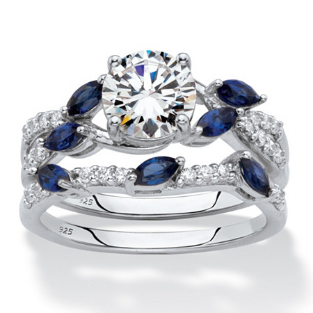 Round Cubic Zirconia and Marquise Created Blue Sapphire 2-Piece Vine Wedding Ring Set 2.63 TCW in Platinum over Sterling Silver at PalmBeach Jewelry