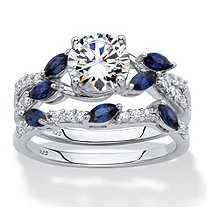 SETA JEWELRY Round Cubic Zirconia and Marquise Created Blue Sapphire 2-Piece Vine Wedding Ring Set 2.63 TCW in Platinum over Sterling Silver
