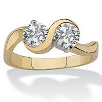 Round Cubic Zirconia 2-Stone Bypass Ring 1.60 TCW 14k Gold-Plated