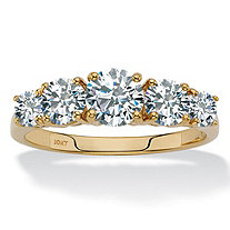 SETA JEWELRY Round Cubic Zirconia Anniversary Ring Band 1.70 TCW in Solid 10k Yellow Gold