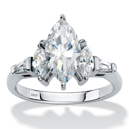 Marquise-Cut and Baguette Cubic Zirconia Engagement Ring 2.76 TCW in Solid 10k White Gold at PalmBeach Jewelry