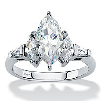 Marquise-Cut and Baguette Cubic Zirconia Engagement Ring 2.76 TCW in Solid 10k White Gold
